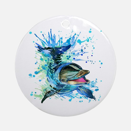 Watercolor Dolphin Round Ornament