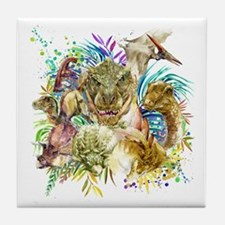 Dinosaur Collage Tile Coaster