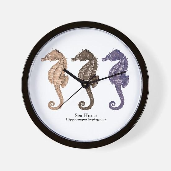 Sea Horse Vintage Art Wall Clock
