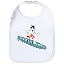 Siberian Husky Surfer Baby Bib