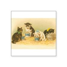 "Cute Victorian cat cats vintage kitten kittens Square Sticker 3"" x 3"""