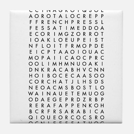 coffee word search Tile Coaster