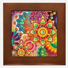 Funky Retro Pattern Abstract Framed Tile