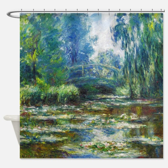 Pond & Japanese Bridge Monet Shower Curtain