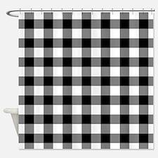 Black White Gingham Shower Curtain