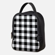 Black White Gingham Neoprene Lunch Bag