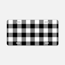 Black White Gingham Aluminum License Plate