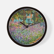 Irises in Monet's Garden Wall Clock