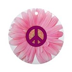 Pink Peace Daisy Ornament (Round)