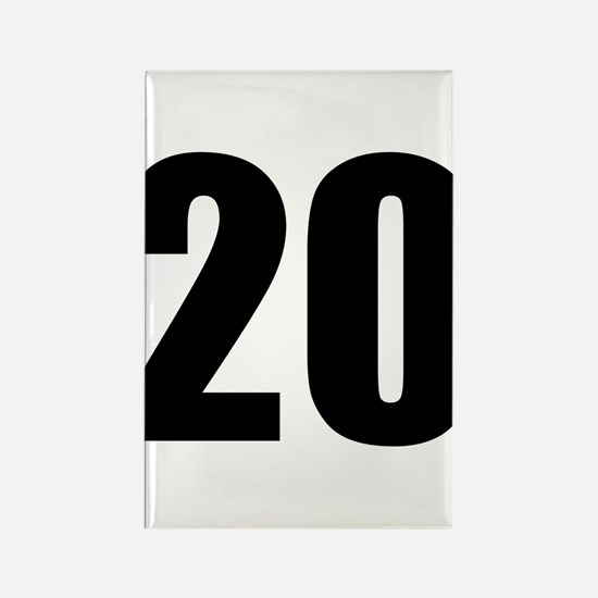 Number 20 Rectangle Magnet
