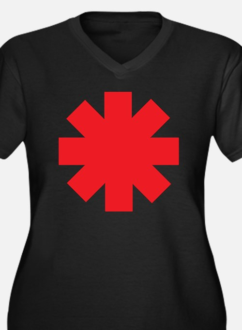 Cute Red hot chili peppers Women's Plus Size V-Neck Dark T-Shirt
