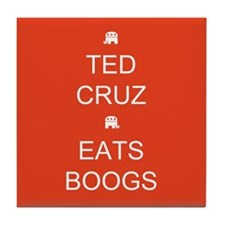 Cruz Eats Boogs Tile Coaster