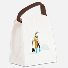 Funny Snow shoveling Canvas Lunch Bag