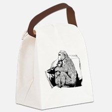 Cute Macaque Canvas Lunch Bag
