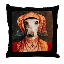 Italian Greyhound Tudor Dog Throw Pillow
