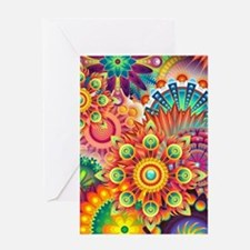 Funky Retro Pattern Abstract Greeting Cards