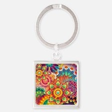 Funky Retro Pattern Abstract Keychains