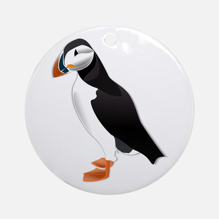 Puffin md Round Ornament