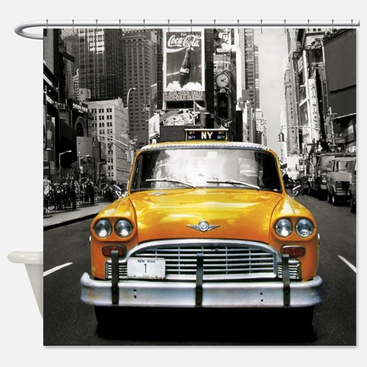 Cute New york taxi cab Shower Curtain