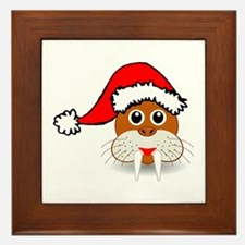 Funny walrus face with Santa Claus hat Framed Tile