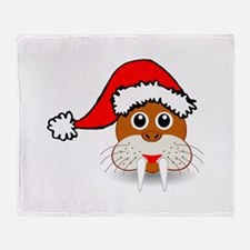 Funny walrus face with Santa Claus h Throw Blanket