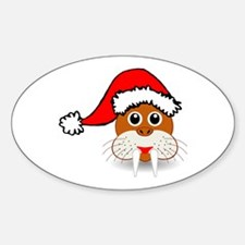 Funny walrus face with Santa Claus hat Decal