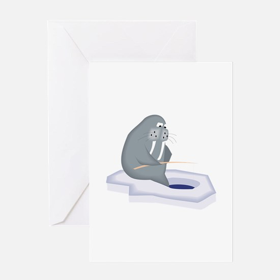 Walrus Fishing Greeting Cards