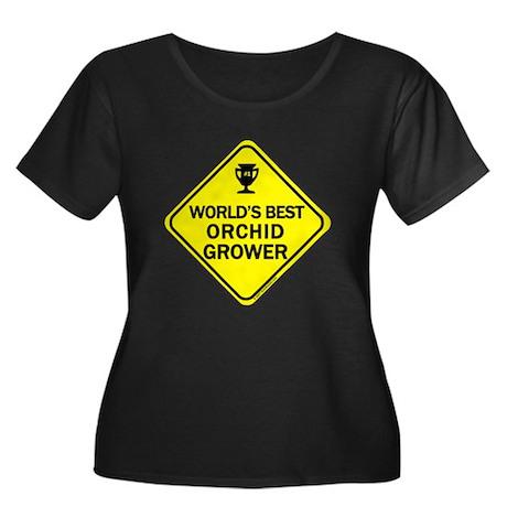 Orchid Grower Women's Plus Size Scoop Neck Dark T-