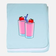 Strawberry smoothie drink beverage cu baby blanket