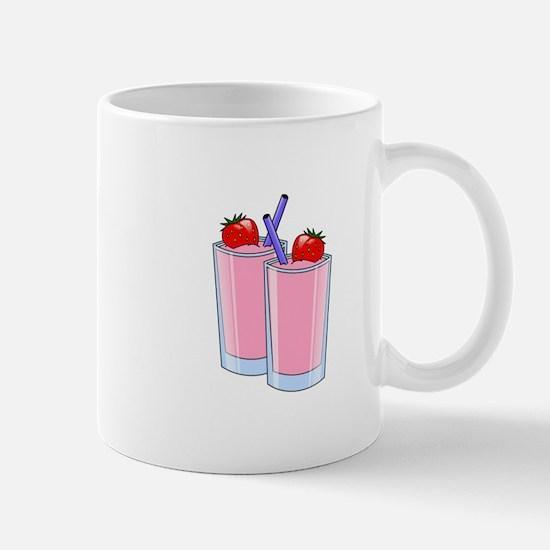 Strawberry smoothie drink beverage cups Mugs