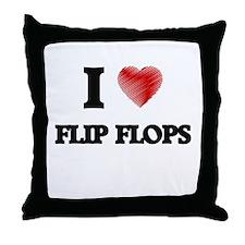 I love Flip Flops Throw Pillow