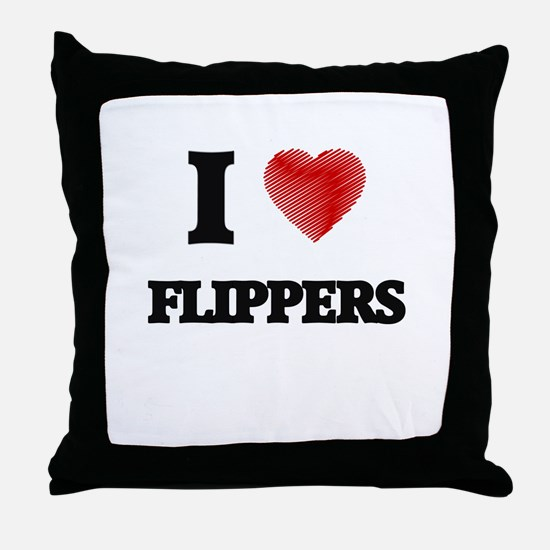 I love Flippers Throw Pillow