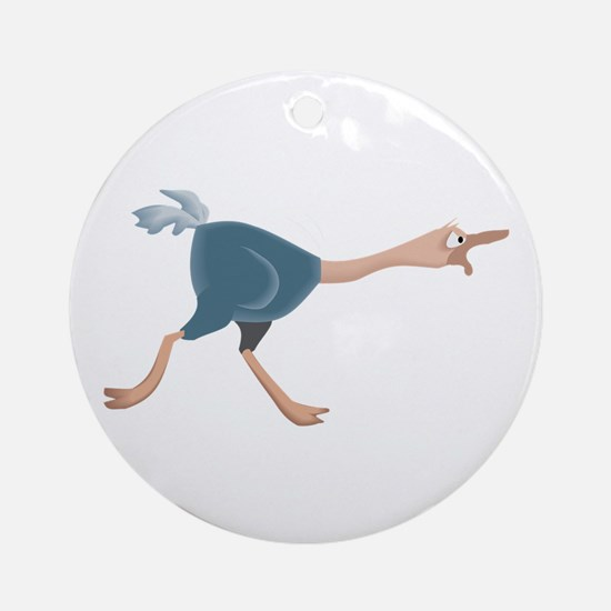 Ostrich Angry Round Ornament