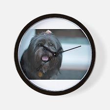 smiling lhasa type dog Wall Clock