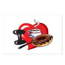 I Love Coffee and Donuts Postcards (Package of 8)