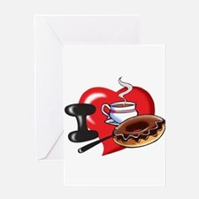 I Love Coffee and Donuts Greeting Cards