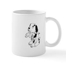 Sad dog with a broken leg Mugs