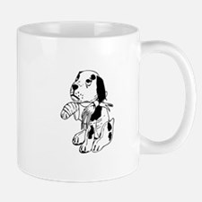 Sad dog with a broken leg Mugs