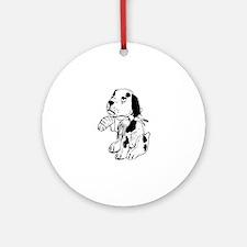 Sad dog with a broken leg Round Ornament