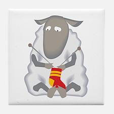 Sheep Knitting Sock Tile Coaster