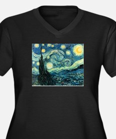 Starry Night Women's Plus Size V-Neck Dark T-Shirt