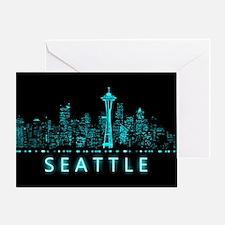 Digital Cityscape: Seattle, Washingt Greeting Card