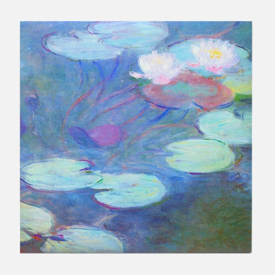 Pink Water Lilies Monet Tile Coaster