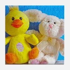 Happy Easter Chick + Bunny Tile Coaster