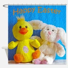 Happy Easter Chick + Bunny Shower Curtain