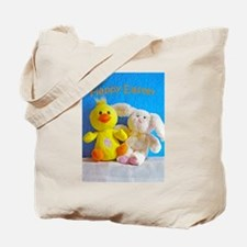 Happy Easter Chick + Bunny Tote Bag