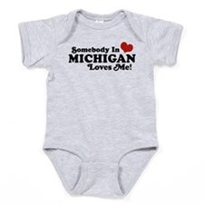Cute Someone in michigan loves you Baby Bodysuit