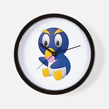 Angry bird cartoon with ball Wall Clock