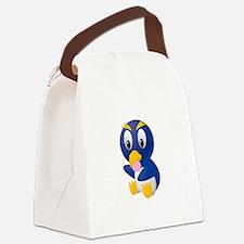 Angry bird cartoon with ball Canvas Lunch Bag