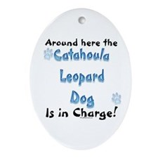Catahoula Charge Oval Ornament